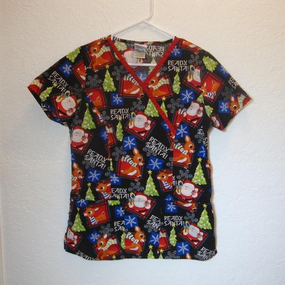 740f4644845 The Rudolph Co. Tops | Christmas Scrubs Top Rudolph Medical Uniform ...